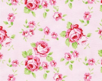 Tanya Whelan Fabric, Rambling Rose, Happy Rose, Pink,White, Green, Floral - By the Yard