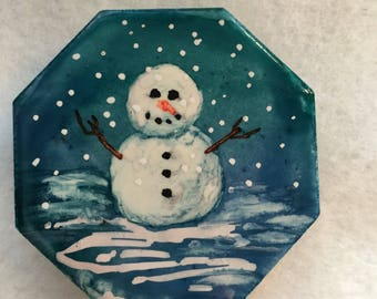 Ceramic Snowman Alcohol Ink Magnet