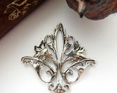 ANTIQUE SILVER * Art Nouveau Flower Connector Stamping ~ Jewelry Findings (CB-3052)