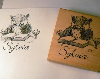 Personalized, custom made Book Stamp Wood mounted (ONE WEEK ONLY )