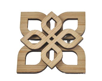 SALE - Two layer bamboo eternal knot brooch