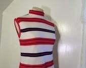 Red White Blue Stripe knit top Turtleneck Vintage 70s RWB Mod knit blouse 1970s sleeveless stripe top M L