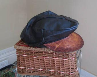 Black Leather 70s Newsboy Cap vintage Leather hippie hat 70s leather newsboy vintage hat slouchy hat  M L