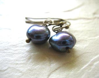 Pearl Earrings, Freshwater Pearl Earrings, Handmade Dang Drop Pearl Earrings, Peacock Pearl Jewelry