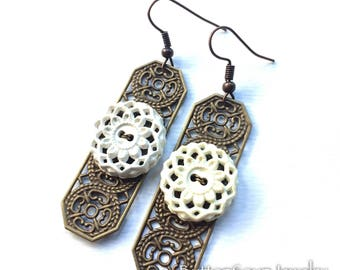 White Vintage Button Earrings  with Metal Filigree