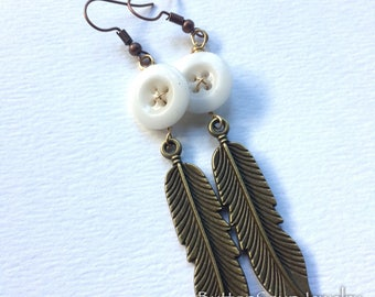 Long Vintage Button Dangle Earrings with Brass Feathers - Boho Chic