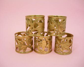 Vintage Brass Napkin Rings - Set of 5 Openwork Stamped Grapes and Leaves Design - Made in India - Estate Find - Dining and Entertaining