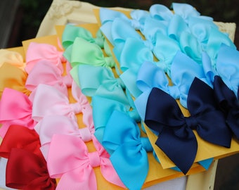 You Pick TWELVE PAIRS, Flat Pigtail Bows, Total of 24 M2M Hairbows, Sweet Custom Set of Hair Bows, 1.00 Bows Dollar Bows for Pigtails 3 Inch