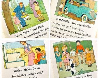 See Spot... Antique Mire Dick and Jane Stories 1934 Pre Primer Elson Gray Scott Childrens Book Nursery Decor Illustrations Paper Ephemera