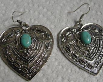 Silver Tone Heart Blue Acrylic Stone Dangle Pierced Earrings