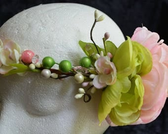 SALE! Pink Green Flower Crown, Bridal Shower, Bride to Be, Baby Shower, Mom to Be, Boho Crown, Rustic Crown, Sweet 15 16, Birthday