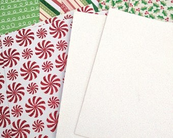 Christmas Cardstock - Set of 10 - 6 x 6 Inches
