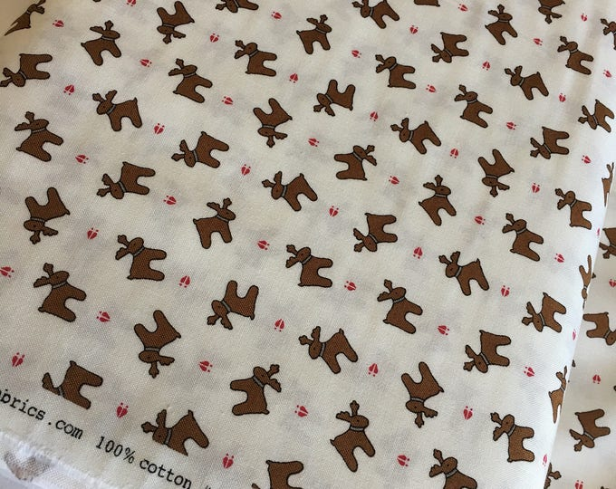 Christmas fabric, Quilting fabric, Christmas or Winter Craft, Sugar Plum Christmas Reindeer in White  - Choose the cut