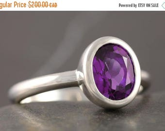 MATERNITY LEAVE SALE Amethyst solitaire engagement ring in sterling silver ring - size 9 1/2
