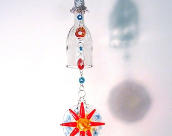 Recycled clear glass bottle with fused glass sun suncatcher windchime