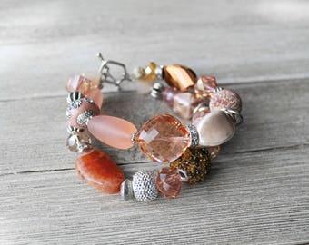 Beaded Bracelet, Peach, Crystal Beaded Bracelet, Sparkle, Double Strand Bracelet, Bead Bracelet, Peaches and Cream Beaded Bracelet