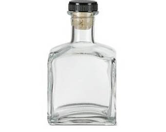 6 pcs Clear Square Glass Bottle with T-Bar - 7.0 oz (210ml)