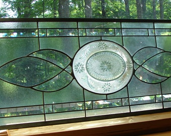 Stained glass panel Large clear Transom bevel window valance 33""
