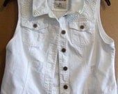 Upcycled White Denim Vest