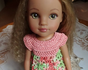 Crochet Baby Doll Top for H4H AG Wellie Wisher 14 15 inch doll Peach Orange Green