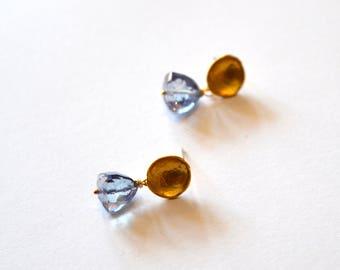Gold Blue Triangle Earrings / Blue Gold Earrings / Small Blue Gold Pyramid Earrings / Geometric Gold Mystic Blue Gemstone Post Earrings