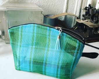"""Turquoise Green Mesh Plaid 9"""" Zipper Pouch, Travel Case, Make Up Cosmetic Bag, Toiletry Case"""