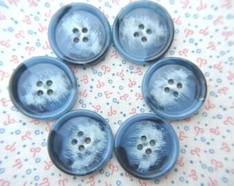 6 Buttons vintage plastic blue 26mm