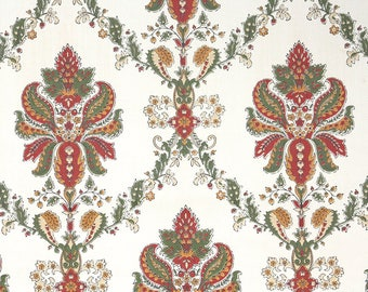 1950s Vintage Wallpaper by the Yard - Red Green and Gold Damask on White