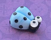 Blue Glass Ladybug Bead, SRA Handmade Lampwork, About 14mm x 12.5mm with a  1.75mm hole - A