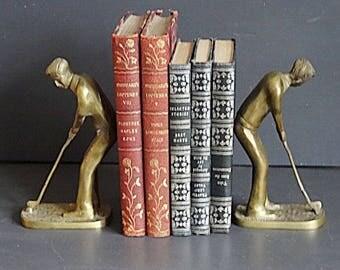 Pair Brass Golfer Bookends Brass Bookends