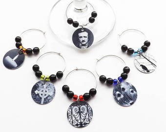 Poe Wine Glass Charms Hostess Housewarming Gift goth home decor halloween macabre black and white drink markers party favors edgar allan