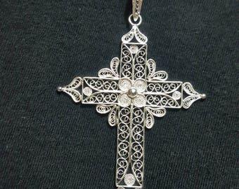 Cross - silver filigree pendant