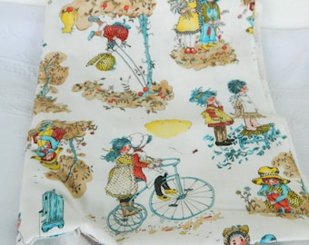 Sale--Vintage Cotton Fabric -Holly Hobbie and Friends--Sale