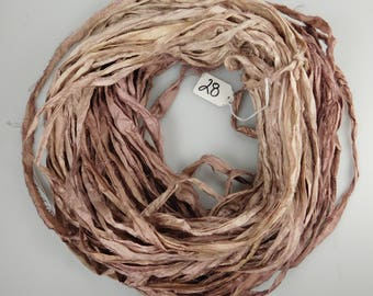 Silk Sari Ribbon, Sari silk ribbon, recycled ribbon, Rose Quartz sari ribbon, weaving supply, knitting supply, crochet supply, rug supply