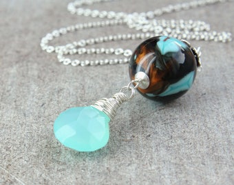 Chalcedony And Lampwork  Necklace  Sterling  Silver Handmade Jewelry Turquoise Pendant Gifts For Women  Multi Colored Necklace