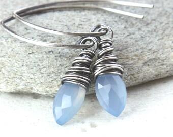 Blue   Chalcedony  Earrings Oxidized Silver  Handmade Gemstone Jewelry    Wire Wrapped Gem Stone Earrings