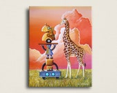 12x16 Signed Canvas Print - Robots On Safari - hand embellished by the artist, Cindy Thornton