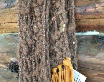 Alpaca hand knit scarf, handmade rolled beads, silk fringe