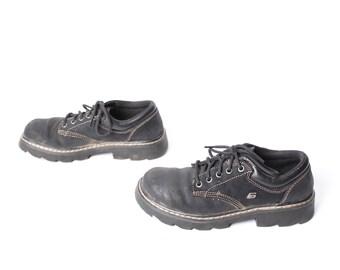 90s GRUNGE black leather 90s SKETCHERS PLATFORM lace up ankle boots