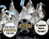 108 Hershey Kiss® Stickers - New Years Favors - Happy New Year, Wedding Favors, Midnight Kisses, Gold and Silver Art Deco Style