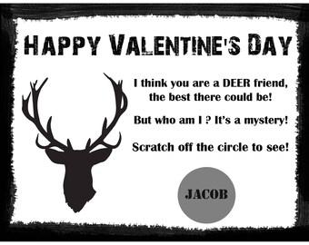 Personalized Scratch Off Valentine's Day Cards for Kids - Deer - Black - Deer Hunting Valentine - Deer Head Valentine