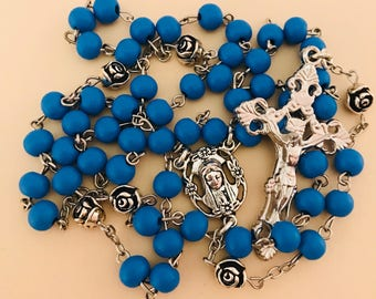 Rose Scented Rosary in Blue Wood and Pewter