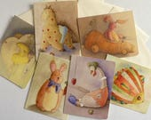 Nursery toy animal cards, 6x designs, everyday, all occasion blank cards with envelopes