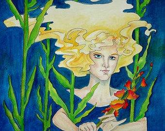 Beneath the Surface - 11x11 Fine Art Giclee Print - from original watercolor painting