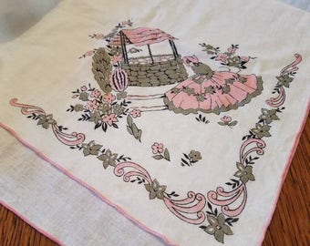 Pink Grey Tablecloth Etsy
