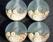 Lampwork Small Focals Sprees (4) Pale Aqua