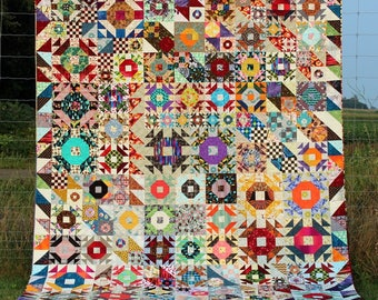 Heirloom King Size Quilt - Scrappy Crown of Thorns