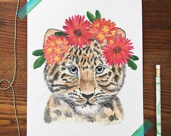Leopard Art. Watercolor Leopard. Leopard Painting. Boho Nursery. Animal Nursery. 8 x 10 Print. Flower Crown. Childrens Decor. Gift Under 20