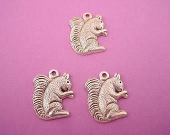 4 silver ox squirrel charm 1 loop 14mm outdoors nature garden