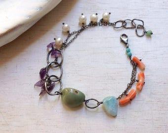 Green Turquoise Bracelet - Larimar Bracelet - Coral Bracelet - Amethyst Bracelet - Oxidized Sterling Silver Link Bracelet - Pearl Bracelet
